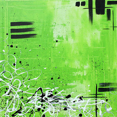 Lime Tree Painting - Abstract Art Original Painting Green Dreams By Madart by Megan Duncanson