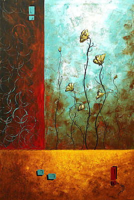 Abstract Art Original Poppy Flower Painting Subtle Changes By Madart Print by Megan Duncanson