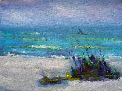 Water Digital Art - Abstract Beach Pastel Summer by Anthony Fishburne