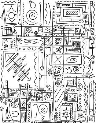 Abstract Black And White Symbolic Message Original Drawing Art By Madart Original by Megan Duncanson