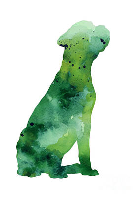 Boxer Mixed Media - Abstract Boxer Silhouette Watercolor Art Print Painting by Joanna Szmerdt