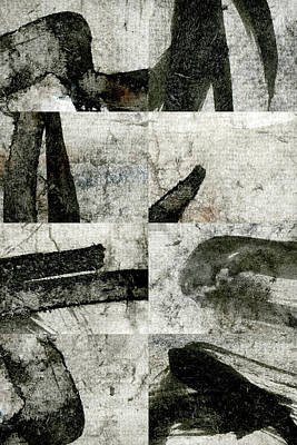 Abstract Montage Mixed Media - Abstract Calligraphy Collage 1 by Carol Leigh