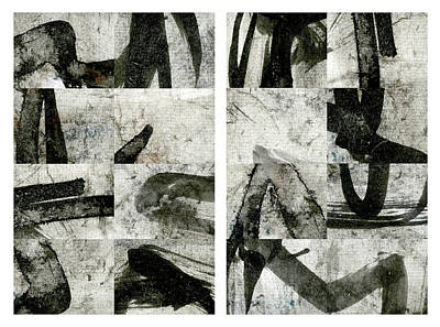Abstract Montage Mixed Media - Abstract Calligraphy Collage Diptych by Carol Leigh
