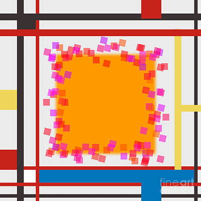 Abstract Composition 06 Piet Mondrian Style Print by Celestial Images