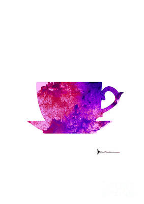 Abstract Cup Of Tea Silhouette Print by Joanna Szmerdt