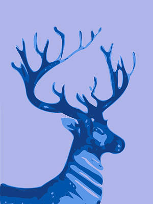 Abstract Deer Digital Art - Abstract Deer Contours Blue by Keshava Shukla