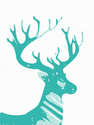 Abstract Deer Digital Art - Abstract Deer Contours Cyan by Keshava Shukla