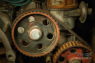 Abstract Detail Of The Old Engine Print by Michal Boubin