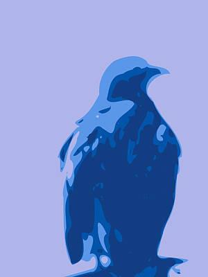 Minimalist Digital Art - Abstract Eagle Contours Blue by Keshava Shukla