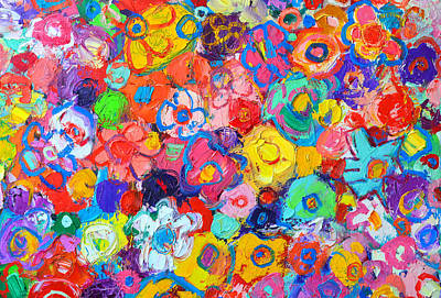 Vivid Colour Painting - Abstract Floral by Ana Maria Edulescu
