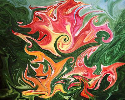 Abstract Painting - Abstract Floral Design By Irina Sztukowski by Irina Sztukowski