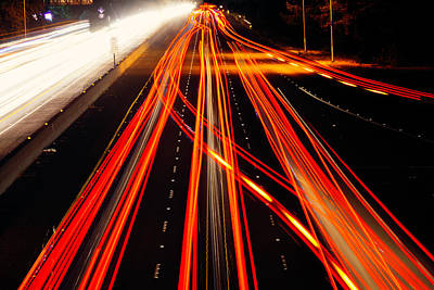 Abstract Freeway Lights Print by Garry Gay