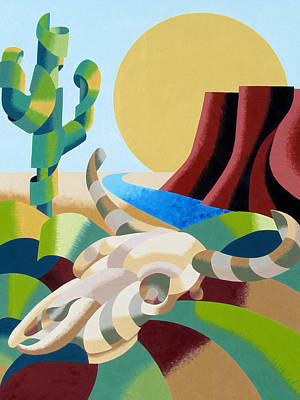 Mark Webster Painting - Abstract Futurist Soutwestern Desert Landscape Oil Painting  by Mark Webster