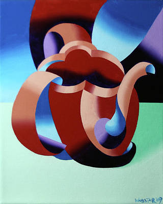 Cubist Painting - Abstract Futurist Teapot by Mark Webster