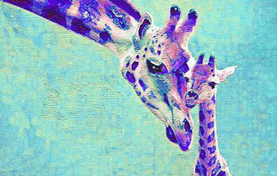 Giraffe Digital Art - Abstract Giraffes by Jane Schnetlage