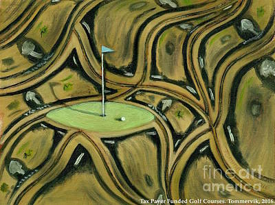 Interesting Painting - Abstract Golf Art Course Painting by Tommervik