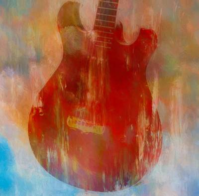 Guitar Mixed Media - Abstract Guitar by Dan Sproul