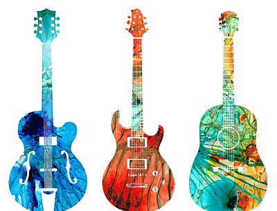Abstract Guitars By Sharon Cummings Print by Sharon Cummings