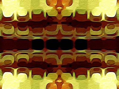 Burnt Umber Digital Art - Abstract Horizontal Tiles - Harvest 1977 by Jason Freedman