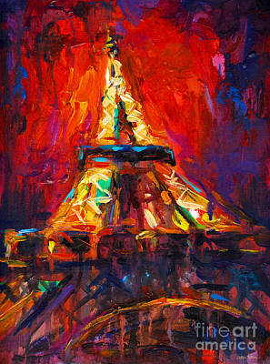 Red Abstract Drawing - Abstract Impressionistic Eiffel Tower Painting by Svetlana Novikova