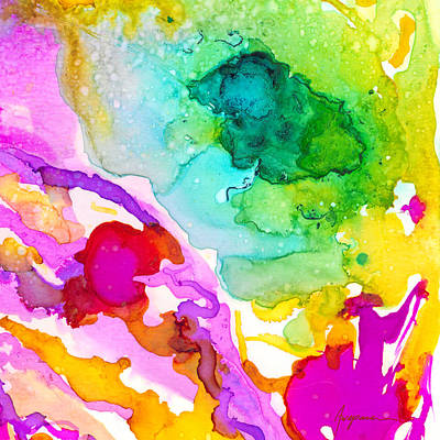 Outer Space Abstract Painting - Transcendent Love 1 Abstract Ink Art Colorful Original Artwork by Patricia Awapara