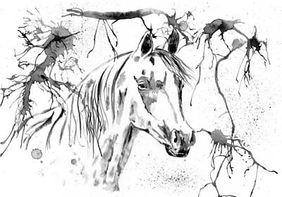 Abstract Ink - Black And White Arabian Horse Print by Michelle Wrighton