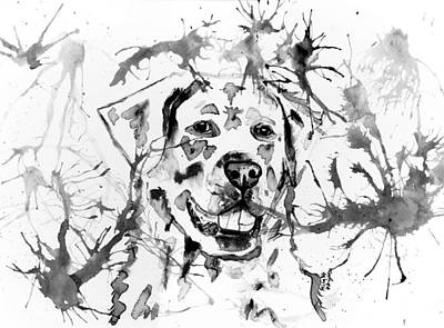 Abstract Ink - Golden Retriever In Black And White Print by Michelle Wrighton