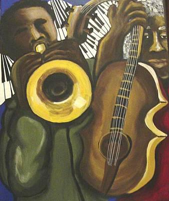 African American. Folk Art Painting - Abstract Jazz Duo by Renie Britenbucher