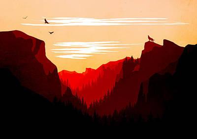 Abstract Landscape Yosemite National Park 4 - By Diana Van Print by Diana Van
