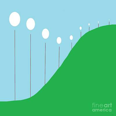 Abstract Landscape Lights On The Hill Print by Eloise Schneider