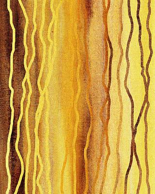 Rag Rug Painting - Abstract Lines In Beige by Irina Sztukowski