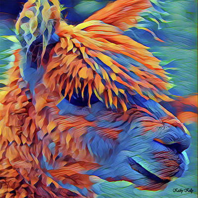 Llama Digital Art - Abstract Llama by Kathy Kelly