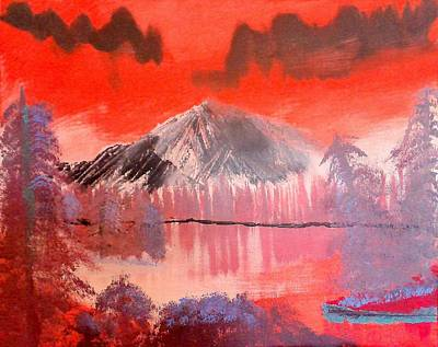 Reverse Painting - Abstract Mountain Lake by Krista Duranti