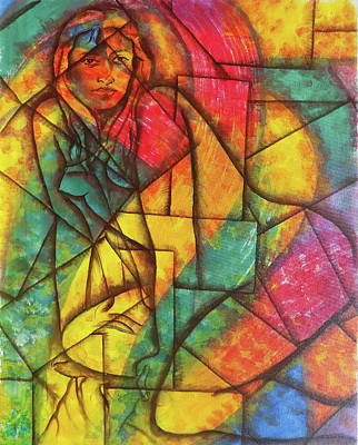Abstract Collage Drawing - Abstract Of A Beautiful Nude Lady by Arun Sivaprasad