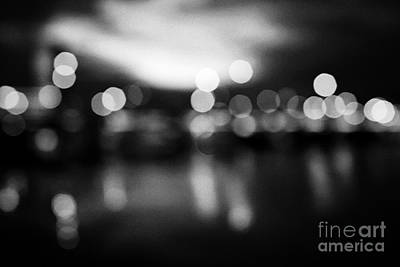 abstract out of focus photograph of queens bridge and river lagan Belfast waterfront at night Northe Print by Joe Fox