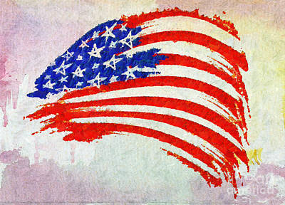 Abstract Painted American Flag Print by Stefano Senise