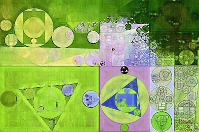 Feelings Digital Art - Abstract Painting - Yellow Green by Vitaliy Gladkiy