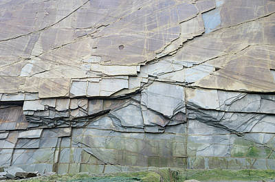 Abstract Photograph - Abstract Pattern Of Vertical Layers Of Stone At Cape Enrage New  by Reimar Gaertner