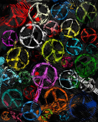 Abstract Peace Signs Collage Print by David G Paul