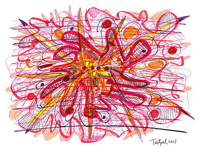 Abstract Pen Drawing Fifteen Print by Lynne Taetzsch