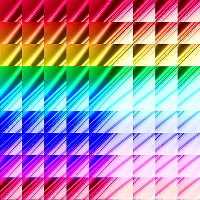 Shiny Digital Art - Abstract Rainbow Triangles by Ruth Moratz