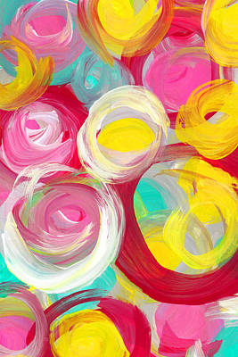 Abstract Forms Painting - Abstract Rose Garden In The Morning Light Vertical 2 by Amy Vangsgard