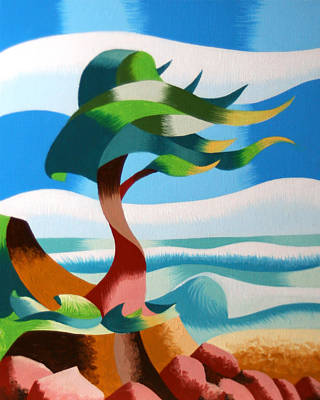 Mark Webster Painting - Abstract Rough Futurist Cypress Tree by Mark Webster