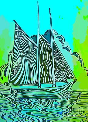 Abstract Sail Boat Original by John Malone