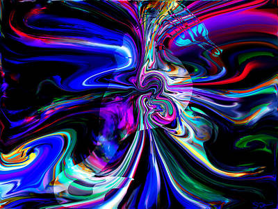 Friendly Digital Art - Abstract Seahorse Electric by Abstract Angel Artist Stephen K