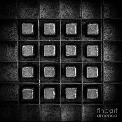 Abstract Squares Black And White Print by Edward Fielding