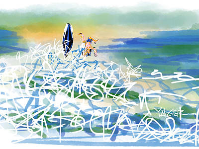 Uplifting Drawing - Abstract Surfer 43 The Wipeout by Robert Yaeger