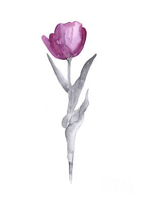 Tulips Mixed Media - Abstract Tulip Flower Watercolor Painting by Joanna Szmerdt