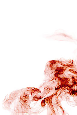 Angels Smoking Painting - Abstract Vertical Blood Red Mood Colored Smoke Wall Art 01 by Alexandra K