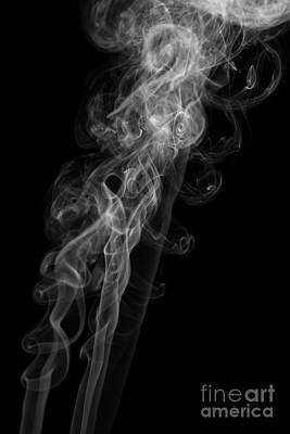 Abstract Vertical Monochrome White Mood Colored Smoke Wall Art 01 Print by Alexandra K